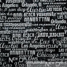 BonEful Fabric FQ Cotton Quilt Black White B&W America Route 66 City Word Stripe