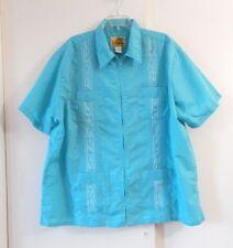 mens blue HABAND GUAYABERA shirt short sleeve embroidered zip up casual 1X XX