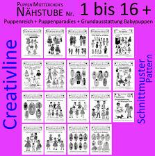 172 Projekte Schnittmuster Puppenkleidung - Nähstube 1 bis 16 und 3 Andere