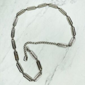 """Silver Tone Rhinestone Bar Belly Body Chain Belt One Size up to 36"""""""