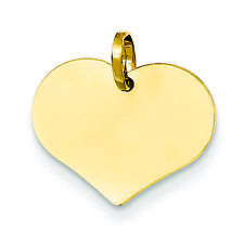 14K Yellow Gold Engravable Flat Heart Charm Pendant MSRP $124