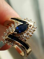 2.60Ct Marquise Cut Blue Sapphire Antique Engagement Ring 14K Yellow Gold Finish