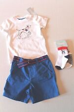 Gymboree Gazebo Party Dog Bodysuit & Blue Shorts Outfit Baby Boy 6-12 Months NEW