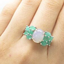 Signed 925 Sterling Silver 3-Row Emerald Moonstone Gem Wide Ring Size 10
