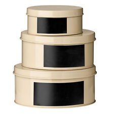 Clifton Set Of 3 Storage Tins With Chalkboard Kitchen Storage Box Canister CREAM