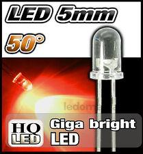 418R# LED 5mm ronde 50° rouge dispo 10, 25 ou 100 pcs - red LED 5mm gyga bright