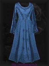 Mittelalter Mieder Kleid Samt Stickerei Schnürung blau Gothic Larp Nepal 44 46