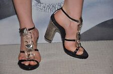 """PARTY BLACK """"VICINI"""" STRAPPY Gladiator SANDALS /SHOES  SILVER METALLIC HEELS"""