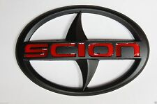 New Scion Matte Black Red Front Rear Emblem Badge Decal 3M FRS TC XA XB XD
