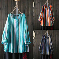 ZANZEA S-5XL Women Long Sleeve Vintage Stripe Shirt Tops Crew Neck Blouse Tops