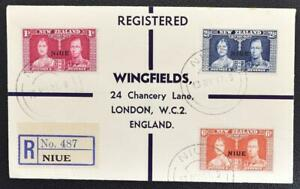 NIUE on New Zeland to ENGLAND 1937 Cpl Coronation Set on Reg Cover/FDC to LONDON