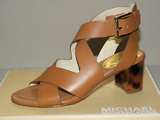 $165 New Michael Kors Mariebella Size 6 m Luggage Brown Leather Heels Sandals