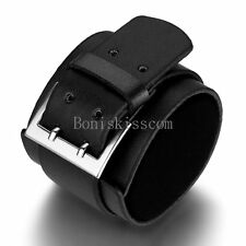 Punk Rock Black Leather Handcrafted Wide Belt Men's Bracelet Wristband Gifts