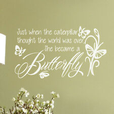 Inspired Wall Decal She became a Butterfly Flowers Saying Girl Room Vinyl Decor
