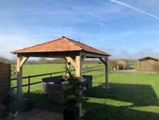 Oak Gazebo with Cedar Shingles - 150mm x 150mm posts 4m x 4m  DIY Kit