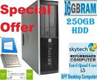 HP Elite 8200 SFF Intel Core i5 16GB RAM 250GB HDD Windows 10 Desktop PC WiFi