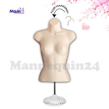 Female Torso Mannequin in Flesh + Stand + Hanging Hook - Women Dress Body Forms