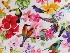 0,5 M Lin Tissu, Jungle, Perroquets, Toucan, Tropique Oiseau, Digital Print