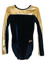 Gk Elite Navy Velvet/Gold Mystique Gymnastics Leotard - As Adult Small 4012