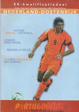 Programme / Programma Holland v Austria 06-09-2003 EURO 2004 Qualifier