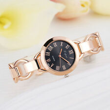 Ladies Fashion Rose Gold Black Dial Quartz Linked Bracelet Band Wrist Watch.