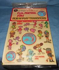 Vintage Pink Panther and Sons Colorforms Rub n' Play Transfers, Rack Toy, 1984