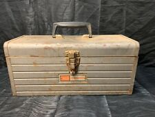 VTG SEARS CRAFTSMAN 6512 CLASSIC METAL TOOLBOX WITH REMOVABLE RED METAL TRAY