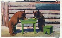 Learning Table Manners Cute Little Brown Bears Munching Linen Vintage Postcard