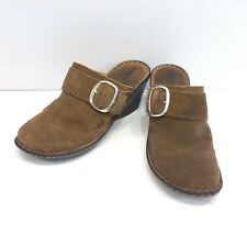 "BORN Womens Brown Suede Mules Buckle W11324 Size 8 2.5"" Heel"