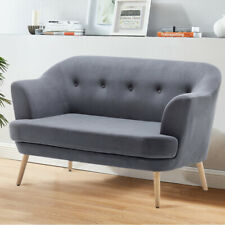 Nordic Buttoned Back Armchair Matte Velvet 2 Seater Sofa Settee Cushioned Chairs