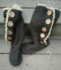 Mukluk Boots Sweater Faux Fur Dark Brown Pull on Womens Sz 7 WPL 6134 Buttons