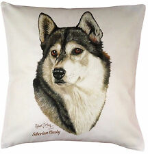More details for siberian husky rm breed of dog themed cotton cushion cover - perfect gift