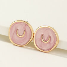 Moon Round Drop Earrings Jewelry New Exquisite Simple Gold Plated Oil Drop Pink