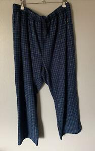 Nautica Sleepwear Lounge Bottoms Size XL Blue Checked Fleece Style