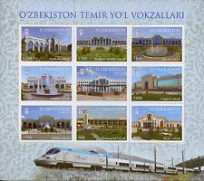 Uzbekistan 2018 MNH Railway Stations 9v M/S Trains Rail Architecture Stamps