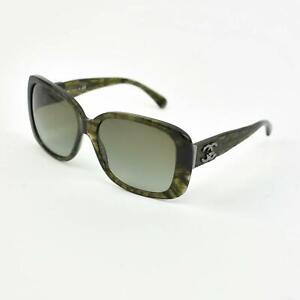 """CHANEL: Dark Olive, Quilted Leather & """"Turn-Lock CC"""" Logo Sunglasses (fm)"""