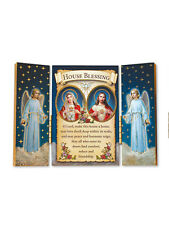 House Blessing Triptych - Wooden Triptych Plaque with Gold Leaf