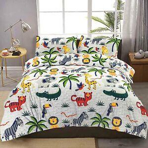 Animals Jungle Kids Printed Easy Care Bedding Multi colour Duvet Cover Set