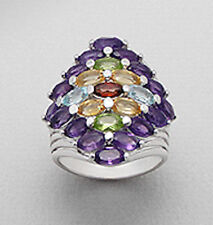 Sterling Silver BIG Multicolor Amethyst Peridot Citrine Topaz Cocktail Ring Sz 7