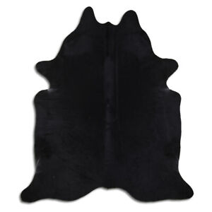 Real Cowhide Rug Solid Black Size 6 by 7 ft, Top Quality, Large Size