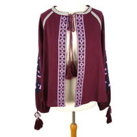 NEW £46 River Island Size M 12 14 Red Cardigan Cape Top Boho Long Sleeve Tassel