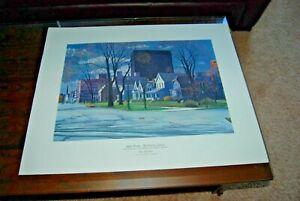"WALTER BURT ADAMS Serigraph WPA ARTIST Art ""Sunday Morning"" Robert Addison Style"