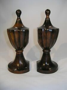 Finial Style Wood Finished Metal Bookends Felt on Bottoms to Protect Furniture