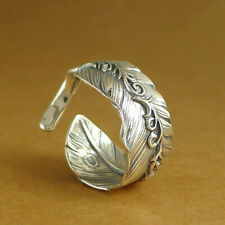 Solid 925 Sterling Silver Retro Wide Mens Unisex Floral Angel Feather Wing Ring