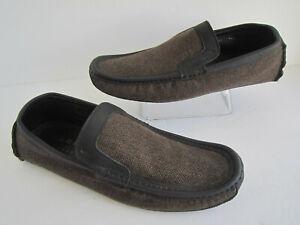Harrys of London Mens Moccasins Slipper Leather Trimmed Textile Sz 43.5 Us 9.5