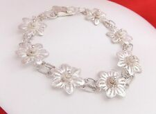 Vintage 925 Sterling Silver Wire Filigree Flower Link Bracelet