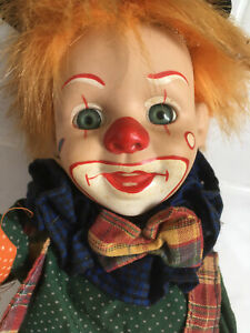 Rare Vintage Bisque Clown Doll c 1960 with untested wind up mechanism