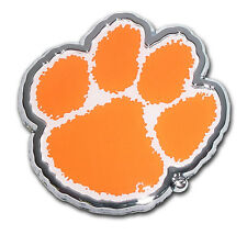 Clemson Tigers Chrome Metal Auto Emblem (Paw with Color) NCAA Licensed