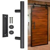Portable Home Barn Door Hardware Set Pull Gate Cabinet Stainless Black E5M9