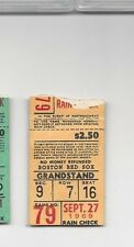1969 9/27 baseball ticket Detroit Tigers Boston Red Sox Denny McLain WIN #24